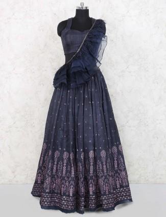 Blue hue raw silk party wear lehenga choli