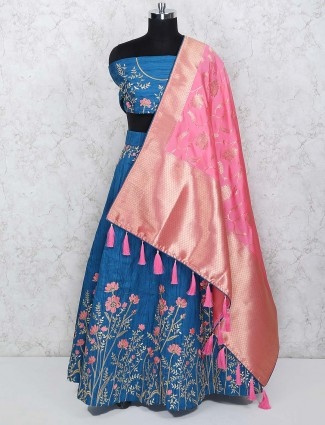 Blue hue raw silk pretty semi stitched lehenga choli