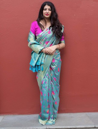 Blue hue saree in kanjivaram silk