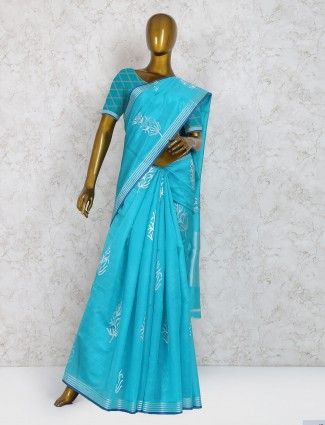 Blue hue saree in pure silk