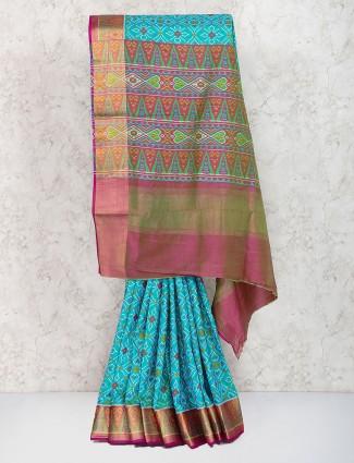 Blue hue semi silk designer saree