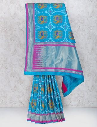 Blue hue semi silk festive wear saree