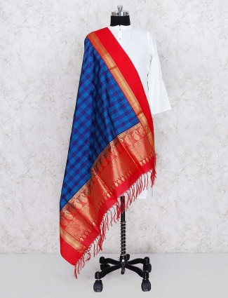 Blue hue silk dupatta in checks pattern
