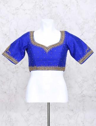 Blue hue silk ready made blouse