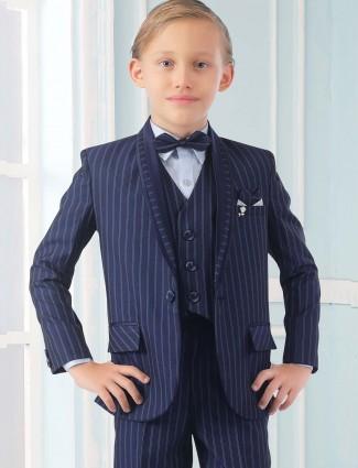 Blue hue stripe pattern terry rayon tuxedo suit