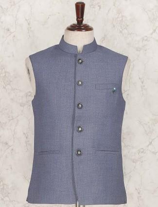 Blue hue terry rayon textured pattern waistcoat
