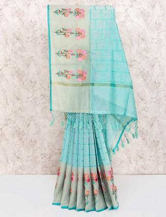 Blue hue wonderful cotton saree