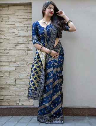 Blue hued banarasi silk fabric saree