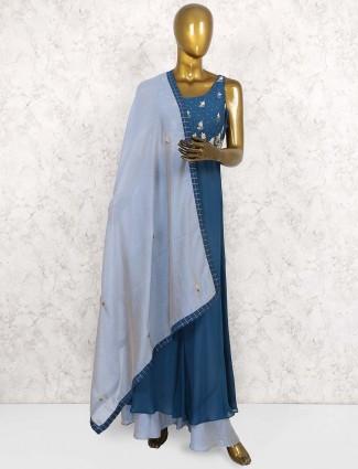 Blue hued georgette punjabi palazzo suit