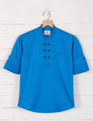 Blue hued solid cotton full sleeve kurta