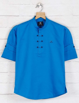 Blue hued solid cotton kurta