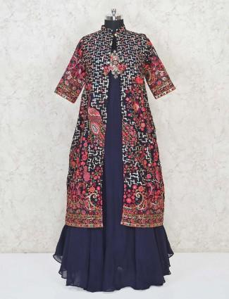 Blue jacket style Indo western salwar suit for festivals in georgette