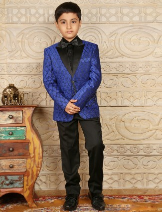 Blue jute silk printed boys coat suit