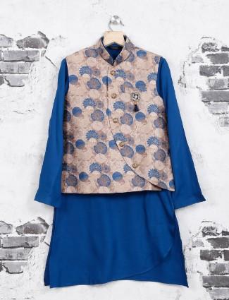 Blue jute waistcoat set