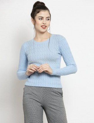 Blue knitted textured crepe casual top
