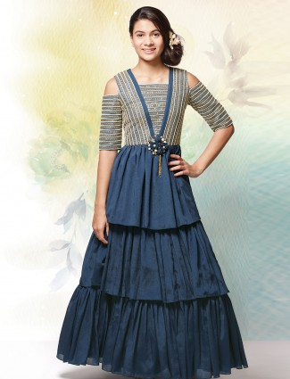 Blue layer style silk party functin gown