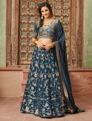 Blue lehenga choli design in silk
