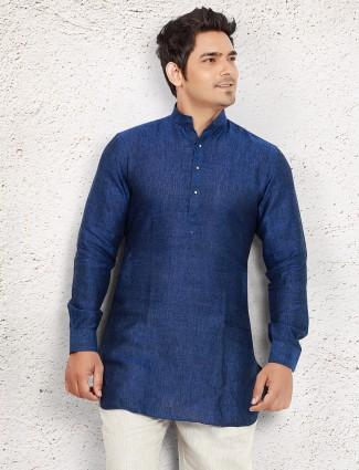 Blue linen festive short pathani