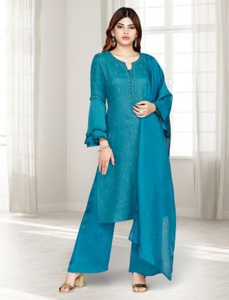 Blue linen punjabi palazzo suit in party