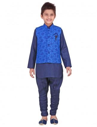 Blue linen waistcoat set