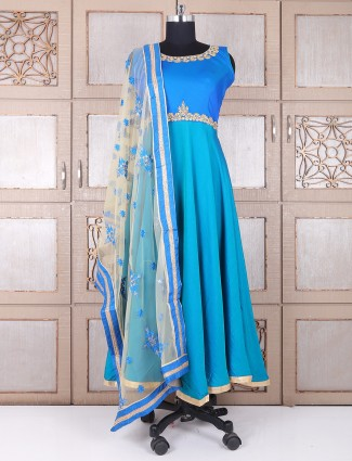 Blue lovely silk wedding anarkali suit
