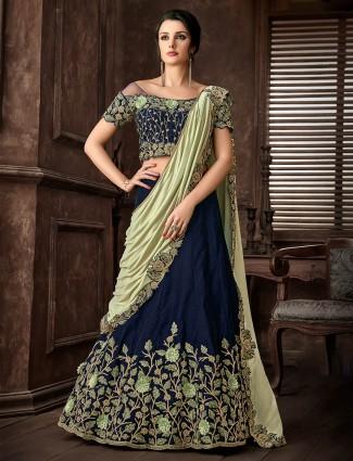 Blue lycra silk designer wedding lehenga cum saree