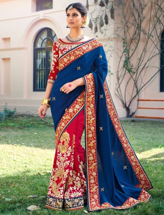 Blue magenta silk half and half saree