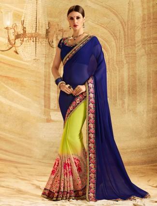 Blue n green color half and half saree