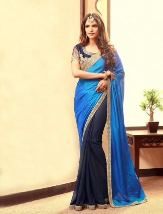 Blue navy silk georgette half and half saree
