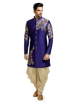 Blue orange silk attractive wedding wear kurta suit
