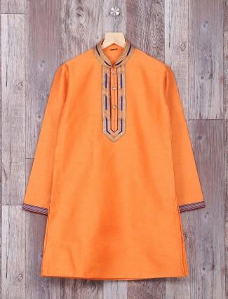 Blue orange silk wedding wear kurta suit