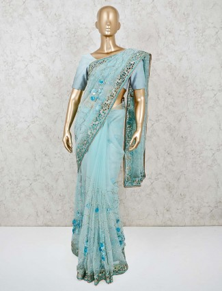 Blue organza tissue saree for party