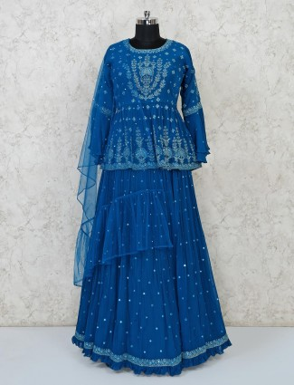 Blue party function lehenga choli in georgette