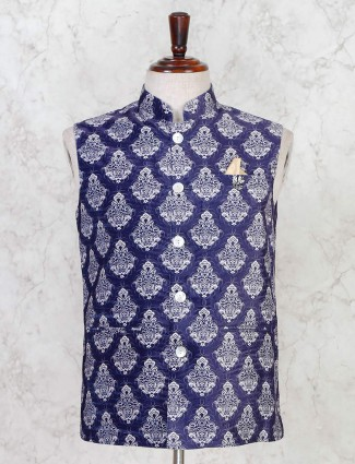 Blue party wear mens cotton silk waistcoat