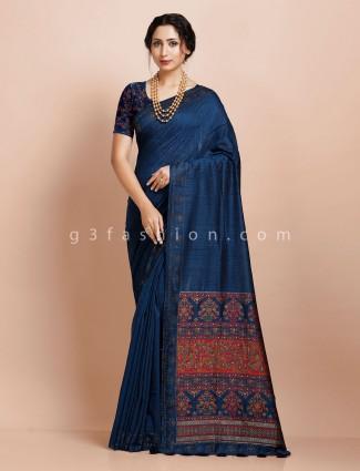 Blue pashmina silk ironing stone work saree