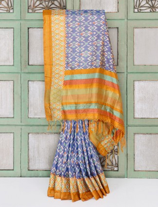 Blue patola cotton silk saree