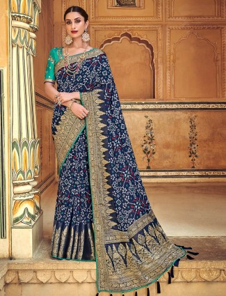 Blue patola silk printed saree for wedding