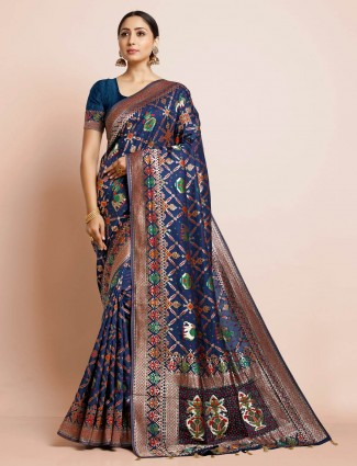 Blue patola silk saree for wedding function