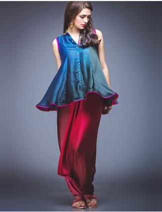 Blue peplum style silk suit