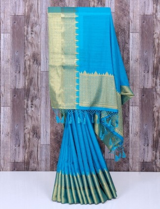 Blue plain silk festive saree