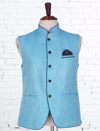 Blue plain terry rayon waistcoat