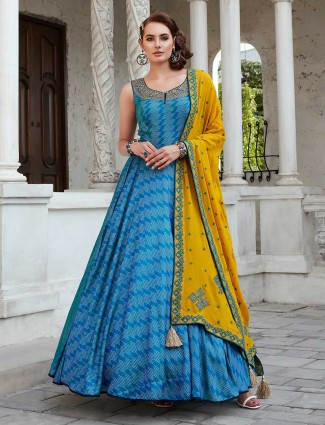 Blue printed anarkali salwar kameez in cotton