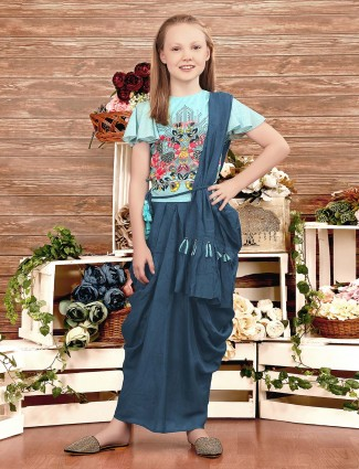 Blue printed cotton fabric dhoti suit