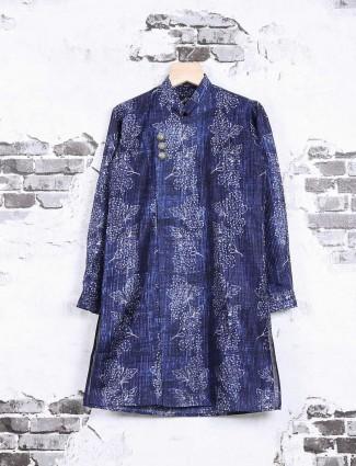 Blue printed cotton festive kurta suit