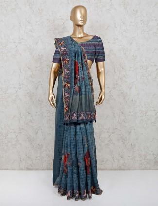 Blue printed cotton festive saree