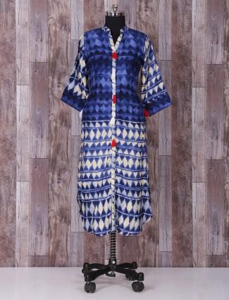 Blue printed cotton printed punjabi suit
