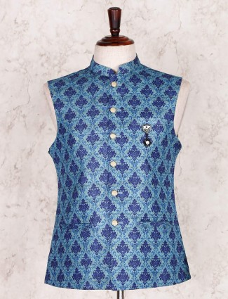 Blue printed cotton silk waistcoat party wear