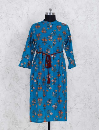 Blue printed cottonfabric kurti