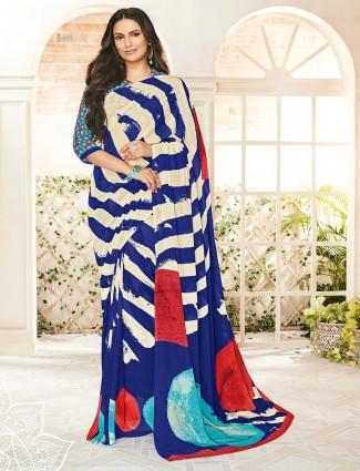 Blue printed design georgette saree