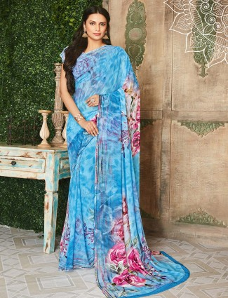 Blue printed festive georgette saree